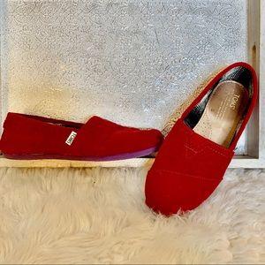 TOMS Red Corduroy Purple Sole Classic Slipons